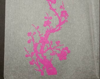 Vintage Hot Pink Cherry Blossom Chinese Paper Cut