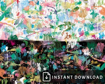16x20 Colorful abstract art - rainbow black painting, multicolor art, paint splatter, high contrast and high texture, living room wall decor