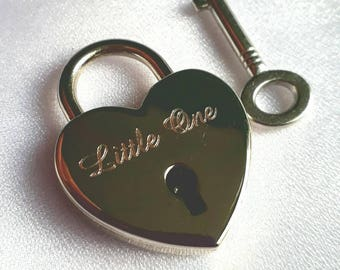 Engraved Small Silver Chrome Heart Personalised Padlock & Key (25mm)