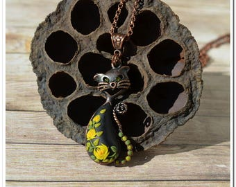 Black cat copper cat necklace rose cat pendant yellow rose pendant floral jewelry women gift for her birthday gift applique floral necklace
