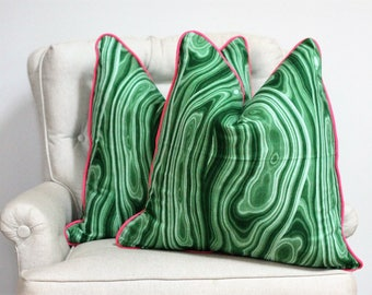Malachite pillow cover // Emerald pillow cover // green pillow cover // malachite // chinoiserie // robert allen