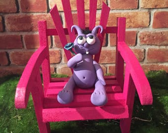 Cute purple polymer clay monster sitting in pink Adirondack chair. Indoor Outdoor decoration. Gift for Get well. I'm sorry. I love you
