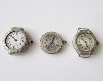 3 Vintage Deco Watch Parts Jeweled Stems GF Not Working Refurbish Repurpose