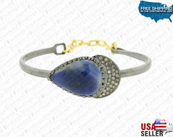 BLUE Sapphire Silver Bracelet made with 925 Silver and Natural Diamonds, Diamond Findings, Pave Bracelet, unique Bracelet, Different Look