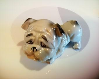 Vintage Ceramic Gray Bulldog Figurine