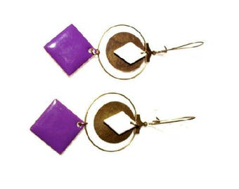 Bronze earrings, purple and white sequins