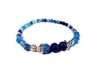 Vintage bracelet, blue agate beads