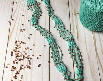 Crochet Necklace, Rose Gold & Aqua - Multistrand Necklace - Seed Bead Jewelry - Beaded Jewelry - Multistrand Boho Crochet