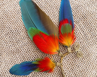 Festicuff ear cuff - All natural, bright and colourful macaw feather earcuff with optional earring with brass chain