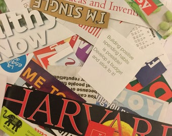 100 pack l Magazine Collage Phrases/Words Clippings l Scrapbook Art Journal Supply
