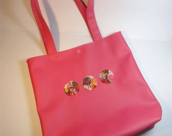 Tote bag in faux leather pink bright Brown cotton with large flowers inside