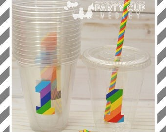 Rainbow Birthday Party Cups, Lids & Straws or Favor Cups with Dome Lids