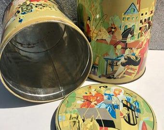 Set van 2 Grote Vintage Voorraadblikken met Middeleeuws Tafereel - 50s Set of 2 Dutch Large Cookiejars