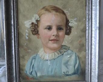 LAYAWAY for Y vintage children portrait 50s girl portrait oil painting on canvas