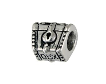 Outer Banks/OBX Pirate Chest Large Hole Sterling Silver Bead - Compatible with ALL Popular Bracelet Brands - Made in the USA! - Item #13843