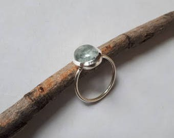 Aquamarine ring set in 92.5 sterling silver,cabochon, free shipping, resizing available