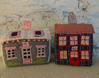 Small houses village in foam and textiles, toy or decoration.