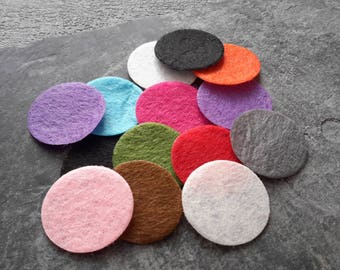 25 mm round multicolored felt pads, oil essential color applique embroidery hobby, 50 pcs sequins patch
