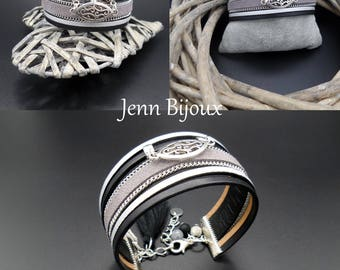 Leather and black metal Cuff Bracelet, leather flat suede with chain, connector, tassel, polaris bead.