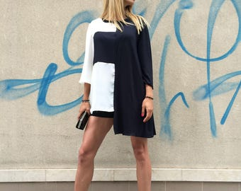 Asymmetric Extravagant Maxi Shirt, Oversize Viscose Design Sleeves, Plus Size Maxi Viscose Tunic by SSDfashion