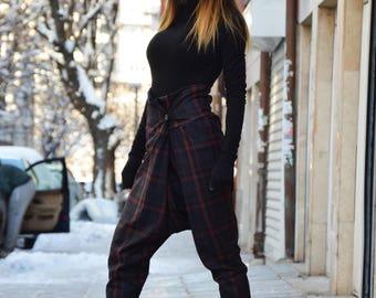 Loose Casual Soft Wool Drop Crotch Harem Pants, High Waist Pants, Extravagant Warm Trousers by SSDfashion