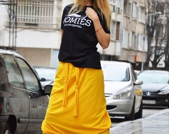 Extravagant Yellow Drop Crotch Harem Pants, Loose Casual Pants, Comfortable Pants, Oversize Maxi Pants by SSDfashion