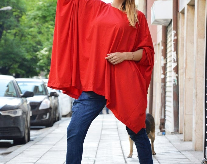 Loose Cotton Red Tunic, Oversize Casual Top, Plus Size Maxi Tunic, Asymmetric Extravagant Tunic by SSDfashion