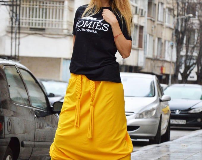 Extravagant Yellow Drop Crotch Harem Pants, Loose Casual Pants, Comfortable Pants, Oversize Maxi Pants by SSDfashion