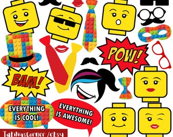 Lego, Lego Photo Booth Props, Lego PhotoBooth props, lego photobooth, Lego party props, kids party, printable, lego party, instant download