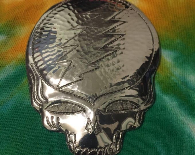 Handcrafted Hammered Polished Aluminum Steal Your Face Ornament
