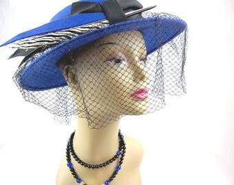 Women's Blue Wool Veil Hat, Wide Brim Feather Church Hat, Circa 1950s