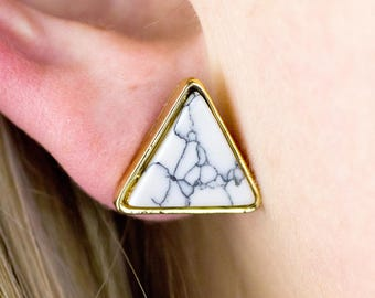 White Marble Earrings, Triangle Earrings, Marble Earrings, Marble Stud Earrings, Small Stud Earrings, Marble Earrings Stud, Everyday Earring