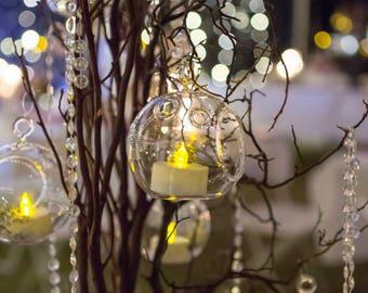 "4"" Hanging Glass Terrarium Globes For Decoration or Crafts, Hanging Terrarium Wedding Decor, Glass Globe Tealight Holder, Hanging Glass Orbs"