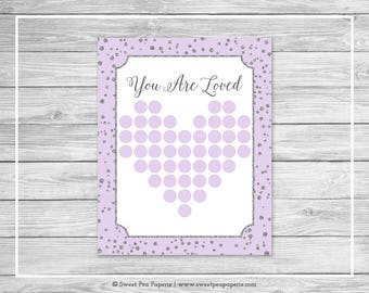 Purple and Silver Baby Shower Guest Book - Printable Baby Shower Guest Book - Purple and Silver Baby Shower - Baby Shower Guest Book - SP153