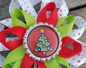 Christmas hair bow, Christmas bow, holiday hair bow, hair bow, bow. Ready to ship