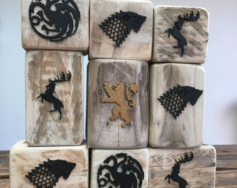 A Game Of Thrones Houses, Reclaimed Wooden Candle Holder