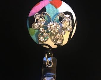 Silver and Glimmer Butterfly -Nurse Retractable ID Badge Reel/ RN Badge Holder/Doctor Badge Reel/Nurse Badge Holder/Nursing Student Gifts