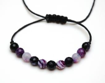 womens gift|for|her Purple Agate bracelet Boho Gemstone bracelet Agate stone Cord bracelet Healing bracelet Beaded bracelet Thread bracelet