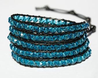 Crystal bracelet Boho Wrap bracelet Aquamarine bracelet chunky bracelet girlfriend gift for Women bracelet gypsy bracelet bohemian bracelet