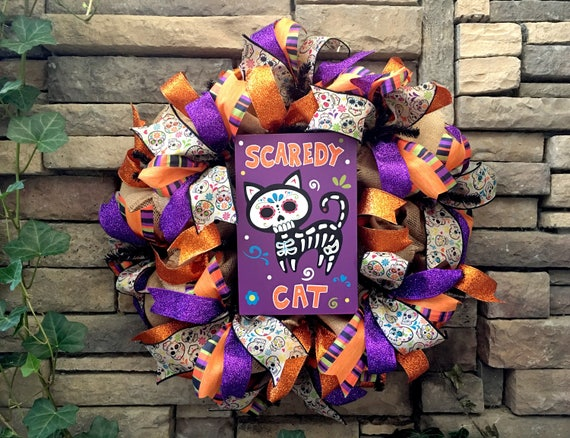 Sugar Skull Wreath, Day of the Dead Wreath, Cat Wreath, Halloween Wreath, Skull Wreath, Halloween Decor, Sugar Skull Decor, Halloween Cat