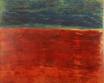 Red Blue Abstract art Canvas art colorfield Acrylic large painting
