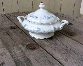 Vintage Johann Haviland Blue Garland Covered Vegetable Dish