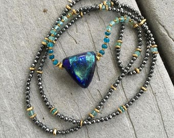 Basha Bead Arrow Head Series with Faceted Apatite, Hematite and Brass Beads by SeeJanesBeads