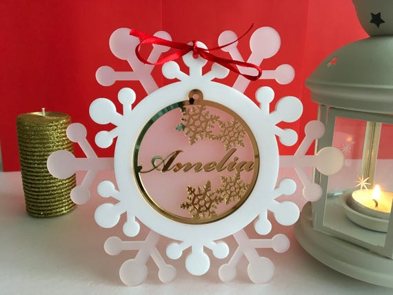Personalised Christmas Gifts Under 15 Xmas gift Christmas present Personalized Christmas name ornament Frosted Snowflake Personalized Family