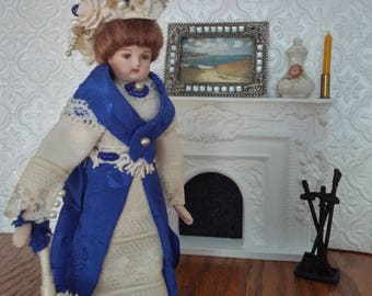 Victorian porcelain Dollhouse doll, 1-12 scale and free domestic shipping.