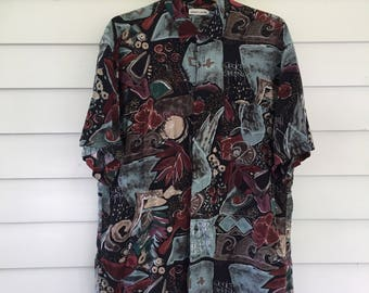 Vintage Pierre Cardin Tiki Hawaiian Shirt - XL