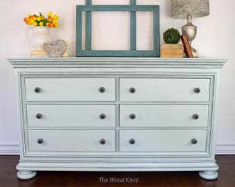 Green mint and gray glaze dresser. Changing table, sideboard, TV stand, buffet,