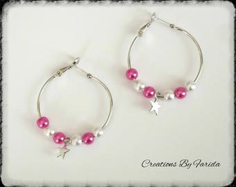 Star with pink & white pearls hoop Pearl