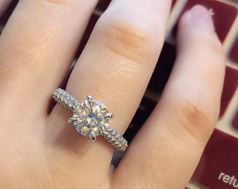 2.00CT Round Moissanite in 1.50ctw Pave Diamond Engagement Ring 14K White Gold, Hidden Halo, Diamond Engagement Ring, Moissanite Ring