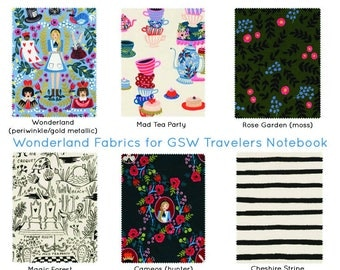 Rifle Paper Co Midori Alice in Wonderland Alice Fauxdori Fabric Travelers Notebook Gifts for Her Gifts for Teens Rifle Paper Bullet Journal